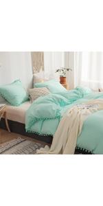 Turquoise Pom Poms Duvet Cover Set