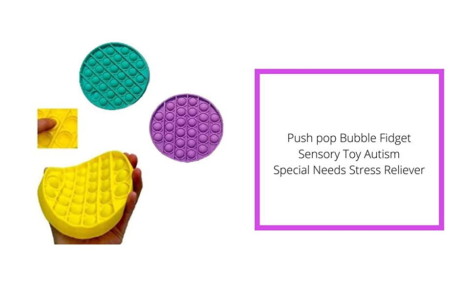 Kids Anxiety Relief Fidget Toys For Kids and Adults Popping Fidget Autism Sensory Toys Push Pop Bubble Fidget Sensory Toy Pop It Fidget Toy Set Of Glow in the Dark and Purple Fidget Toys