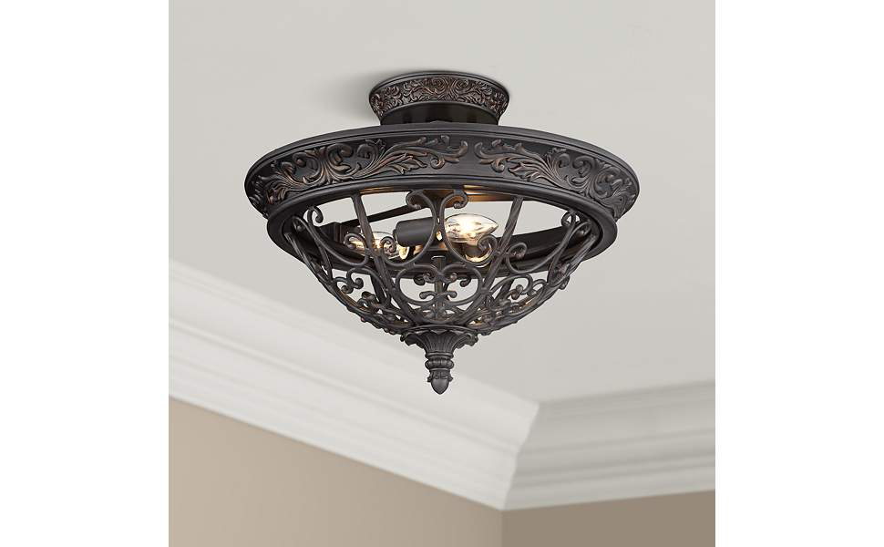 French Scroll Rustic Farmhouse Ceiling Light Semi Flush Mount Fixture Rubbed Bronze Scrollwork 16 1 2 Wide For Bedroom Kitchen Living Room Hallway Bathroom Franklin Iron Works Amazon Com