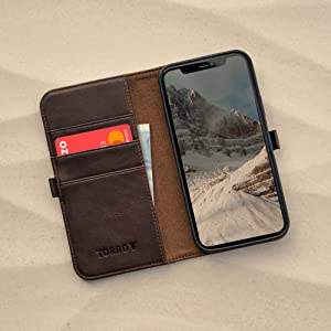 TORRO Dark Brown Leather Stand Case for Apple iPhone 12