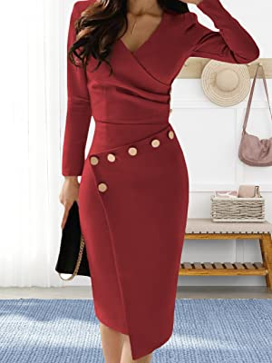 Women's Elegant Comfortable Casual Short Sleeve Pencil Dress for Work