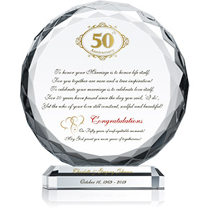 Crystal Central Personalized 50th Wedding Plaque for Couple