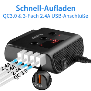 4 USB Anschlüße von diesem Auto Ladegerät