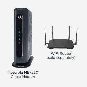 MB7220 cable modem shown with a WiFi router