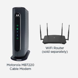 WiFi yönlendirici ile gösterilen MB7220 kablolu modem