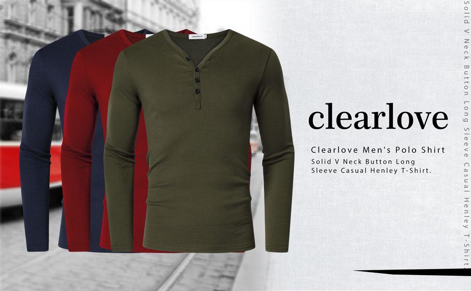 Men's Basic Casual Work Henley Shirts Tops