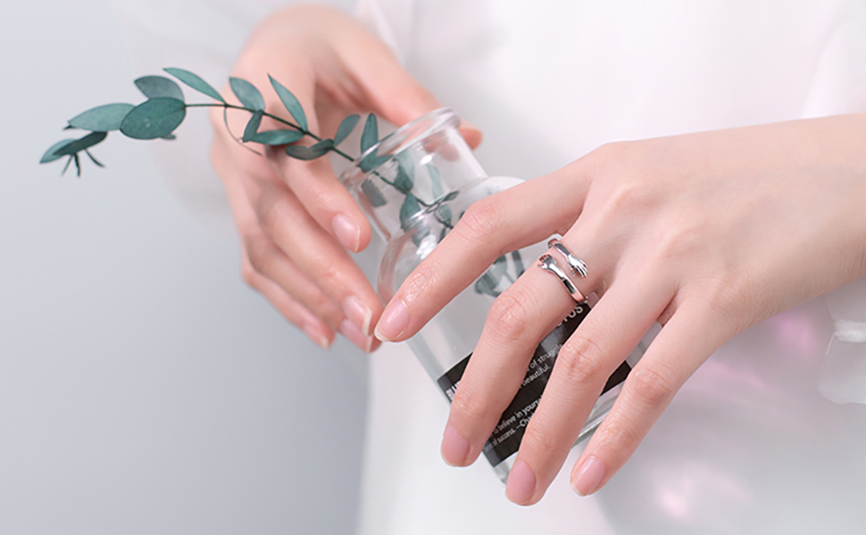 925 sterling silver hungging hands rings for women girls