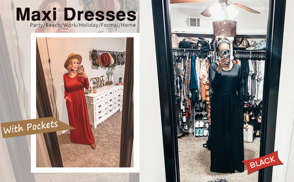 Long Sleeve Loose Plain Maxi Dresses