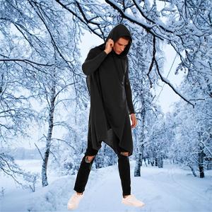 COOFANDY Hoodie Lightweight Hooded Sweatshirt Casual Hip Hop Long Length Cloak Cotton Blend Pullover