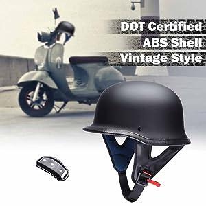 Vintage German Style Motorcycle Half Helmet Skull Cap Scooter Chopper Street L