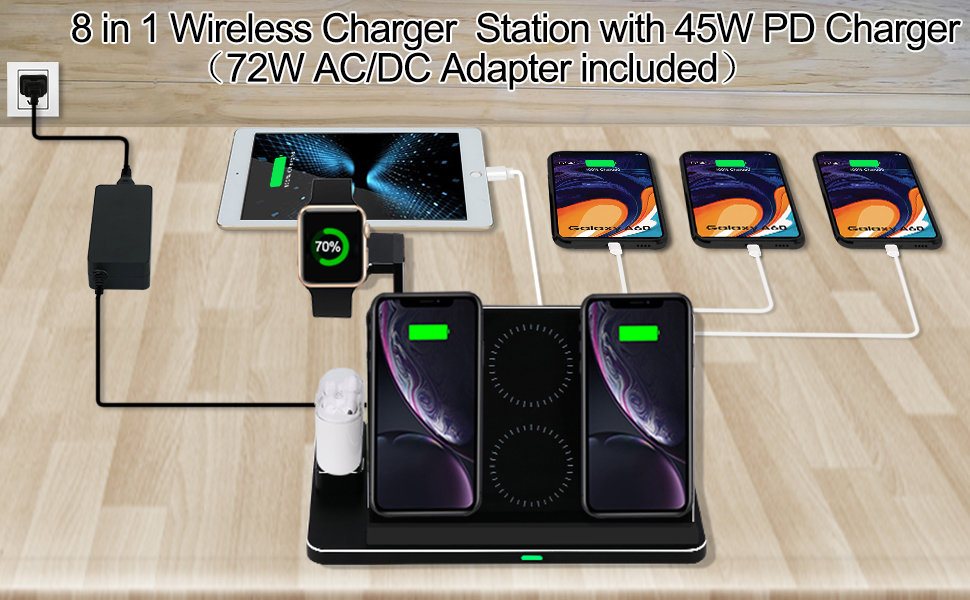 Amazon Com Zapuno Wireless Charging Station 8 In 1 Aluminum Alloy Cnc Wireless Charger Stand 20w Wireless Fast Charger Dock With 45w Pd Charger Compatible For Iphone Ipad Apple Watch Airpods And More Electronics