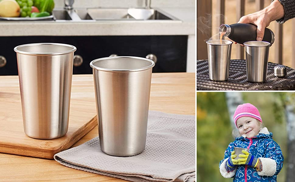 16 Ounce Stainless Steel Pint Cups - Stackable Pint Cup Tumblers For Travel Metal Cups For Drinking