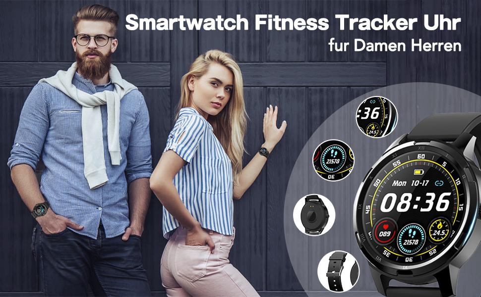 Smartwatch Fitness Armband blutdruck uhr mit Pulsuhren IP67 Wasserdicht Sport Uhr Aktivitätstracker