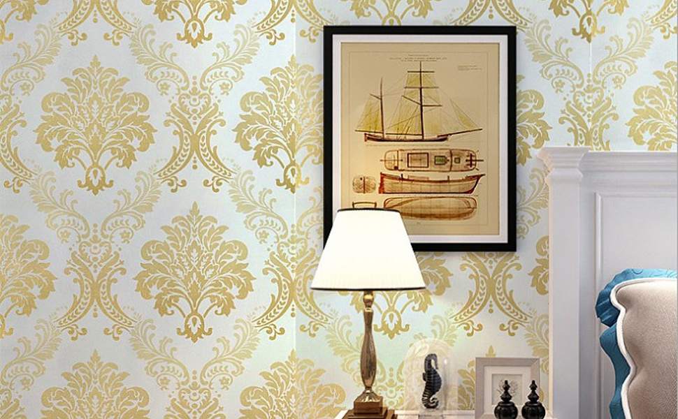 modern damask yellow moroccan rustic wallpaper for living room, bedroom, study