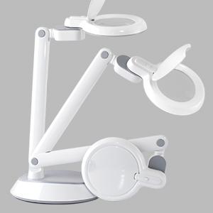 adjustable movable pivoting folding magnifier lamp light magnification LED