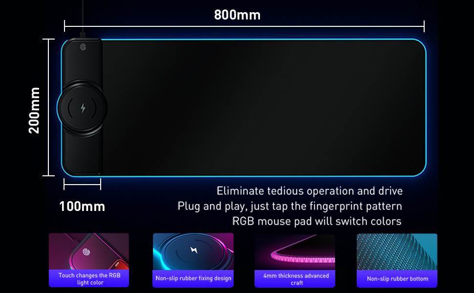 Wireless charging RGB game mouse pad