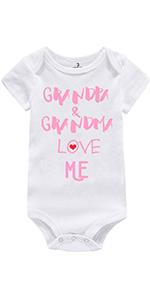 Grandpa Grandma Love Me Print Newborn Baby Jumpsuit