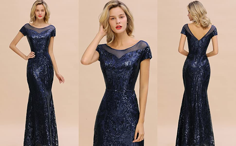 MisShow Women Sequins Prom Bridesmaid Dress Glitter Navy Long Evening Gowns Formal Mother dresses