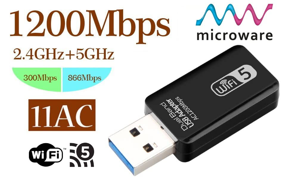 AC1200 Mbps Wifi 5 Dual Band USB 3.0 Adapter