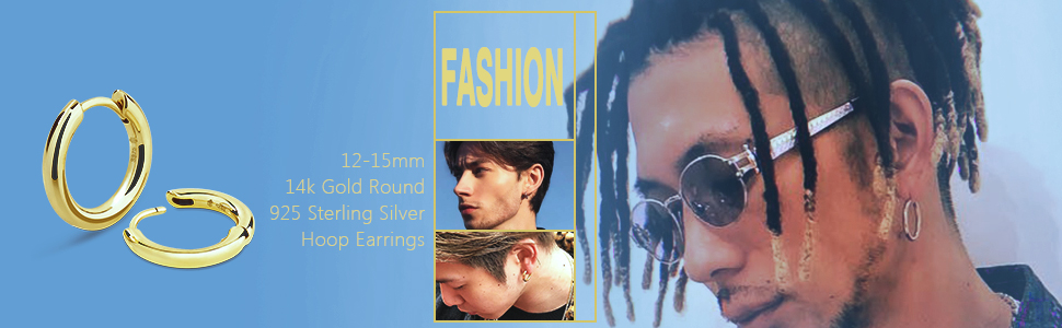 Hoop Earrings S925 Sterling Silver Gold Round Hoop Earrings for Men Women earrings for men women