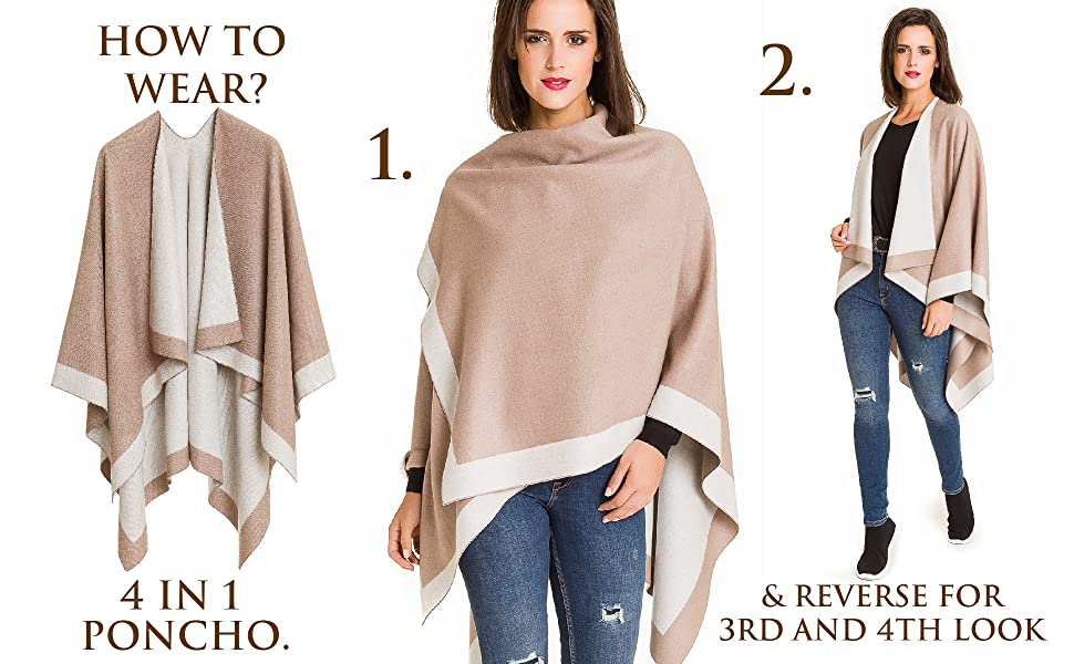 Cardigan Poncho Cape: Women Elegant Cardigan Shawl Wrap Sweater Coat for Winter …