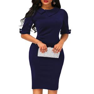 vintage pencil dress for women short half sleeve solid cotton sheath pencil dress work dresses
