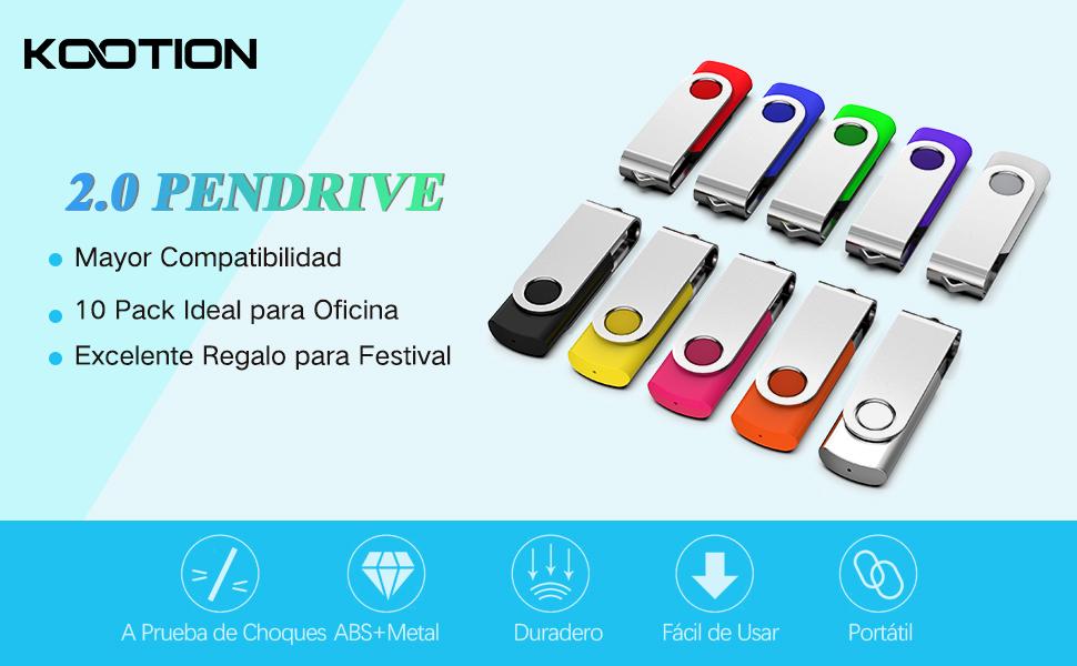 Pendrive 8GB 2.0 10 Piezas, KOOTION Memoria USB Flash Drive Set 10 ...