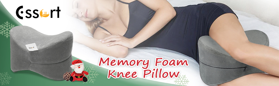 Cojín para Rodilla, ESSORT Almohada Rodillas, cojín para las piernas de espuma, 25×18×17cm Almohadas para Piernas para dolor en la pierna, embarazo y ...