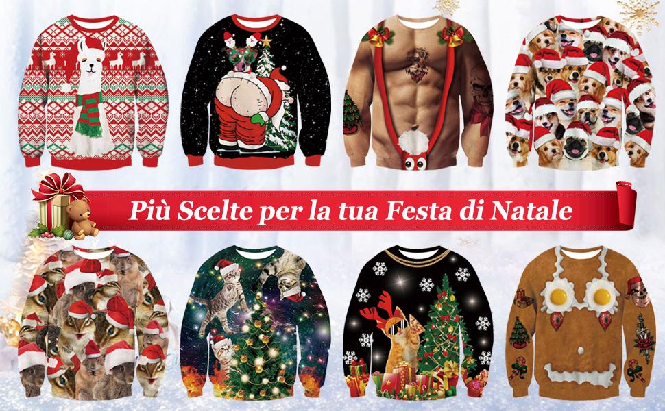 NEWISTAR Donne Uomo Natale Maglione Top Lungo Manica Unisex Retro X-mas Pullover Santa Felpe S-XXL