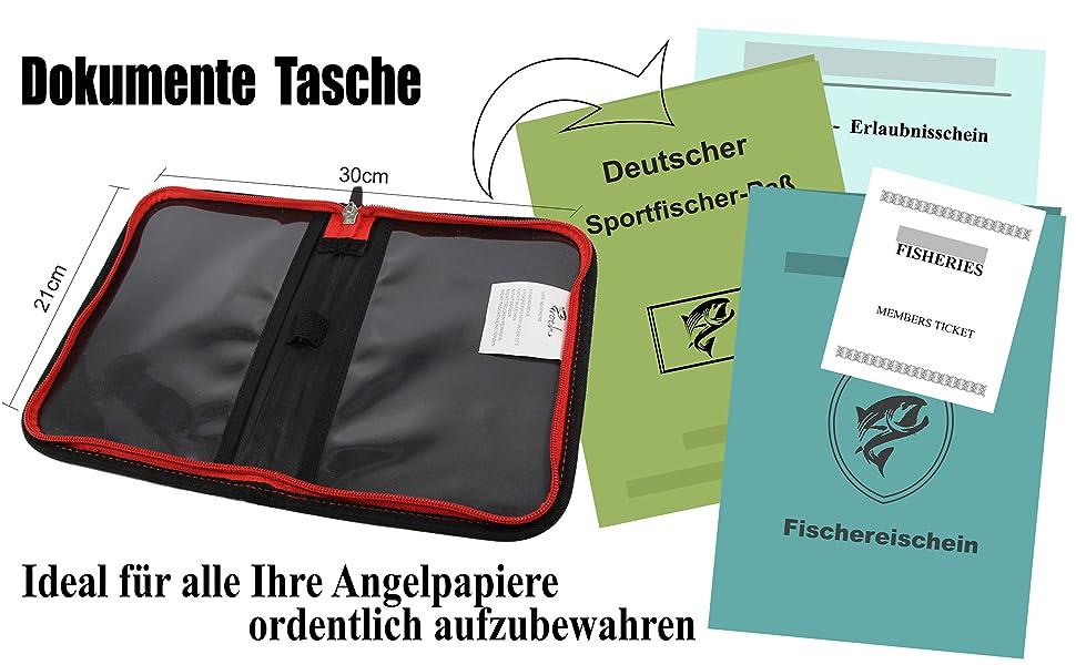 Angelschein Tasche für Angelpapiere Tagskarte Fischereischein /& andere Dokument
