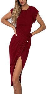 Women Front Split Midi Dress
