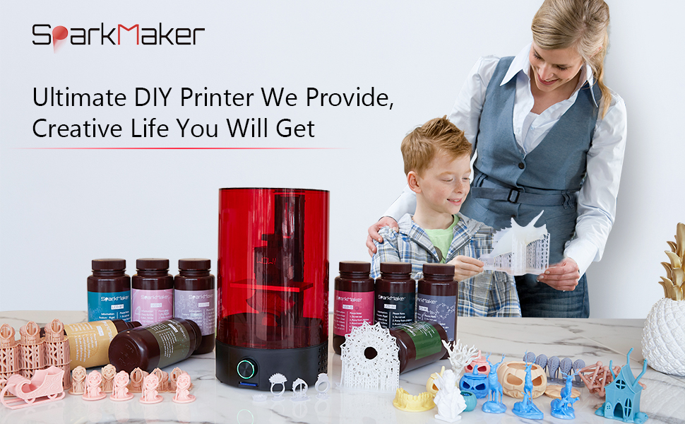 One-Button Operation /& Off-line Printing Easy-to-Level Most-Affordable DIY Printer Fast Slicing /& Free SD Card LCD 3D Printer Sparkmaker SLA 3D Resin Printer UV Photocuring with Fully-Assembled