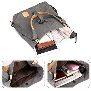 Vintage Canvas Damen Schultertasche Retro Rucksack Multifunktionale Tasche