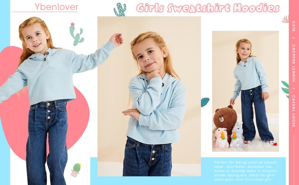 Kids Girls Sweatshirt Casual Hoodies Loose Button Down Pullover Long Sleeve Tops