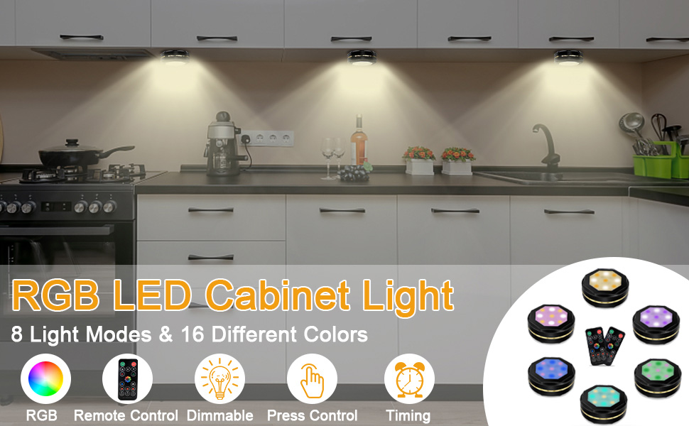 Indoor Lighting Under Cabinet Lights Rgb Dimmable Under Cupboard Kitchen Lights With Remote Control And Touch Sensor Wireless Puck Light With Timing Setting Maxuni Under Cabinet Light Battery Operated 6 Pack Gasniceozdobne Pl
