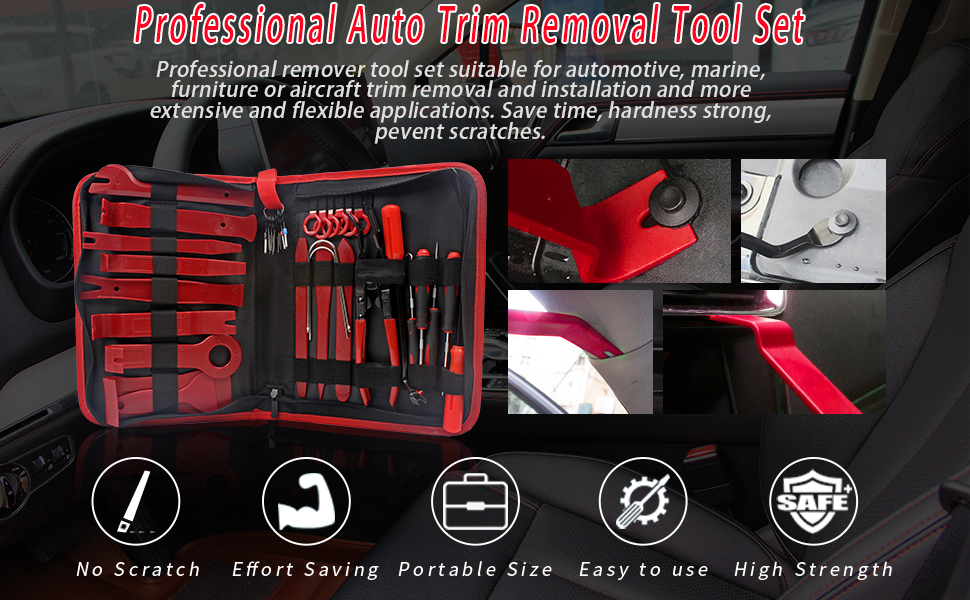 Trim Removal Tool Kit, Car Pry Tool Kit  Auto Clip Pliers Fastener Remover Panel Removal Tool Kit