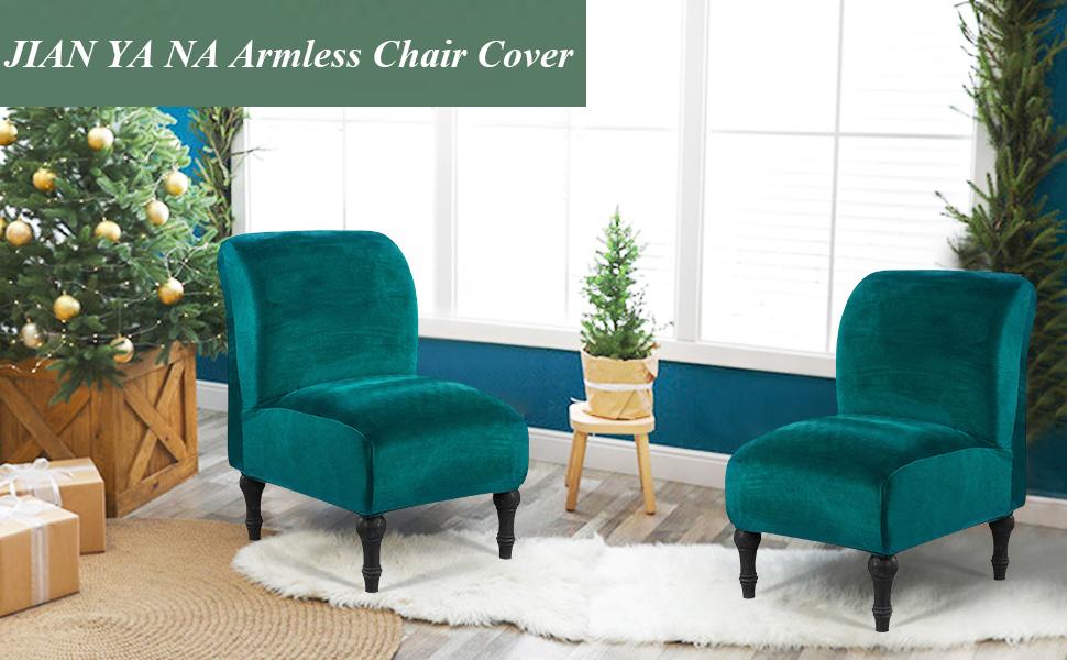 kj Velvet Armless Chair Slipcovers Accent Chair Cover Armless Slipper Chair Covers Furniture Protector Removable Slipcover for Living Home Hotel Black One Size
