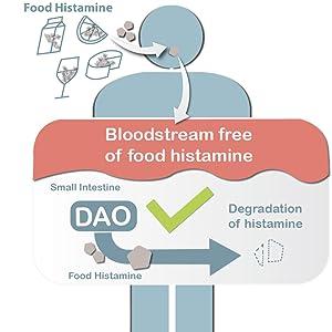 Daofood DIAMINE oxidase DAO plus deficit irritable bowel enzyme dermatitis diarrhea muscle pain