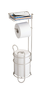 Metal Toilet Paper Holder Stand / Dispenser with Shelf, 3 Rolls - Satin