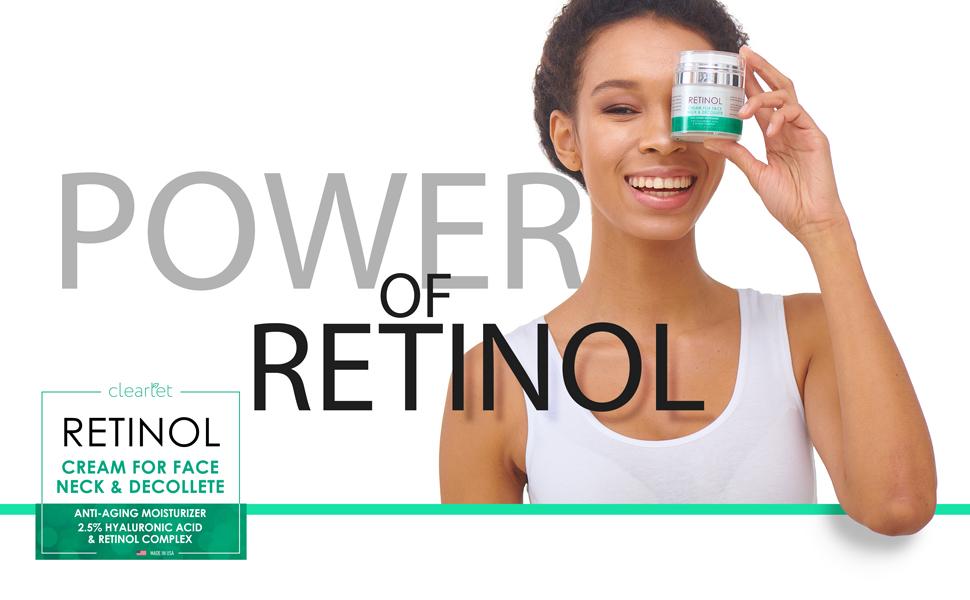 clearlet, retinol, moisturizer, cream, anti-aging, face, neck, decollete, hyaluronic acid, complex