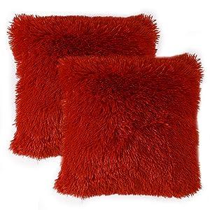 faux fur pillow covers burgundy