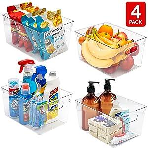 clear plastic storage bin set
