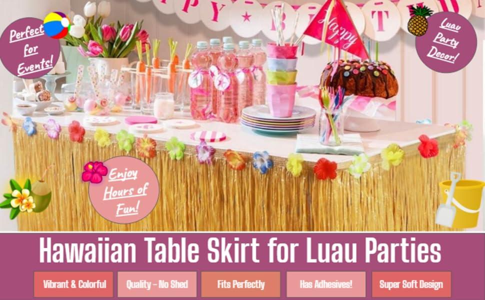 King Luau Hawaiian Table Skirt