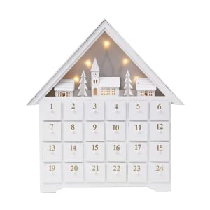 PIONEER-EFFORT 18 Inch Christmas White Wooden Advent Calendar House with 24 Drawers and Led Lights Countdown to Christmas Decoration Fill Small Gifts for Kids Large-01