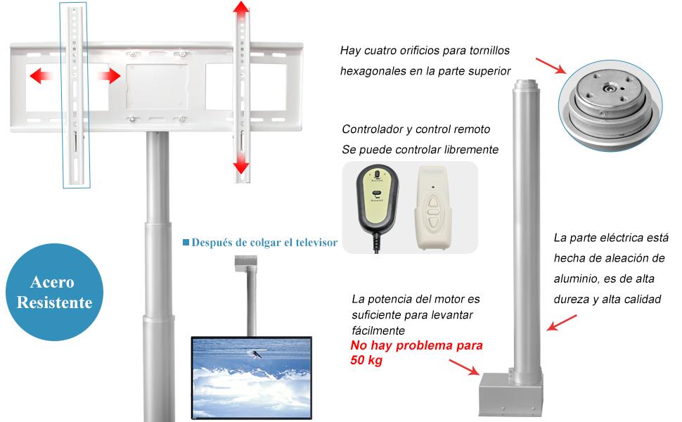 """Hanchen Soporte de Techo para TV LCD/Plasma 26""""-70"""" Motorizado Soporte de Televisores Extensible (Carrera: 300mm): Amazon.es: Industria, empresas y ciencia"""