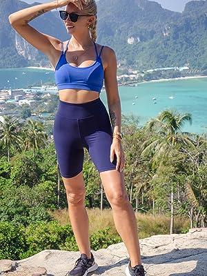 bike shorts high waist yoga pants plus size spandex running girls compression tight shorts long leg