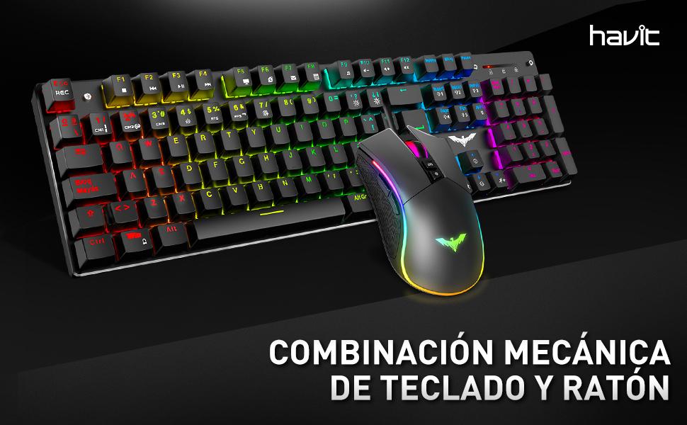 havit Teclado mecánico Gaming y ratón Español Teclados Gaming con Cable, Azul Anti-Efecto Fantasma de 105 Teclas, Ratón Gaming programable, Negro