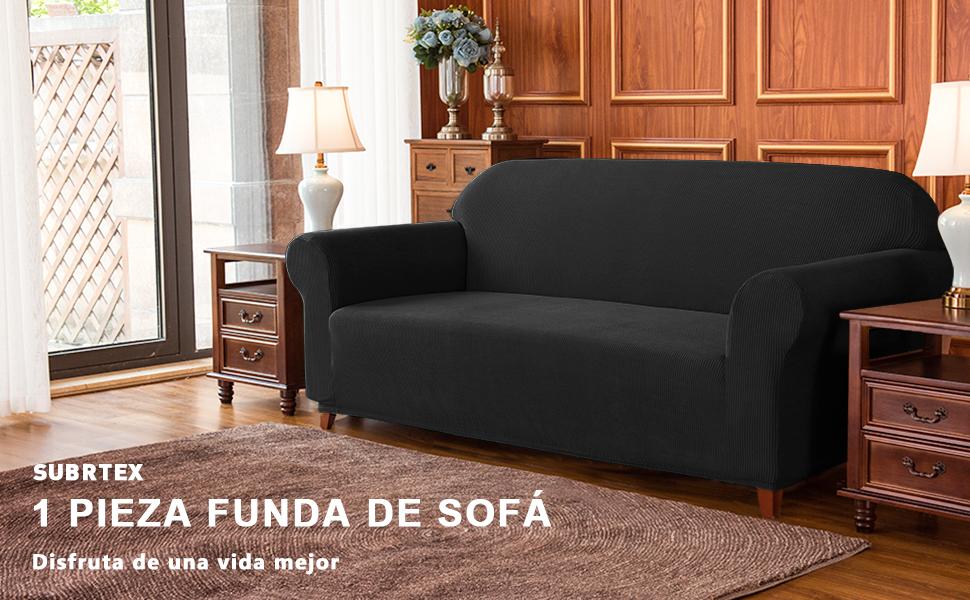subrtex 1 Pieza Funda de Sofá Poliéster Elástica Cubierta de Asiento Forro de Sofá Doméstica (4 Plazas, Negro)