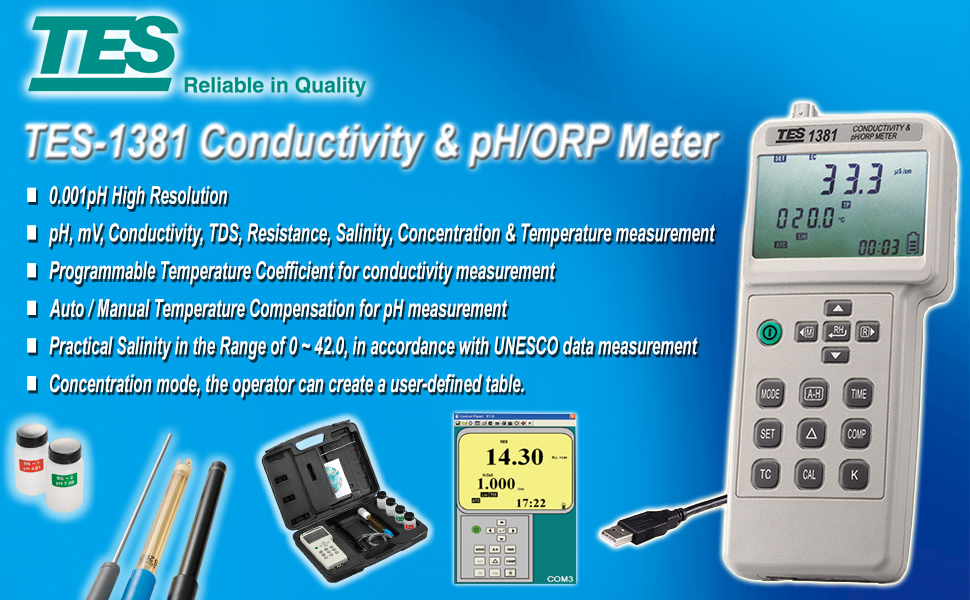 TES 1381K Conductivity & pH/ORP Meter pH Meters Home & Kitchen ...