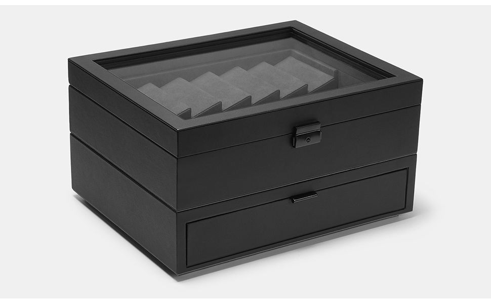 Drop Cache Display Valet - EDC, Blade, Watch, and Jewelry Locking Storage Case, USB Pass-through